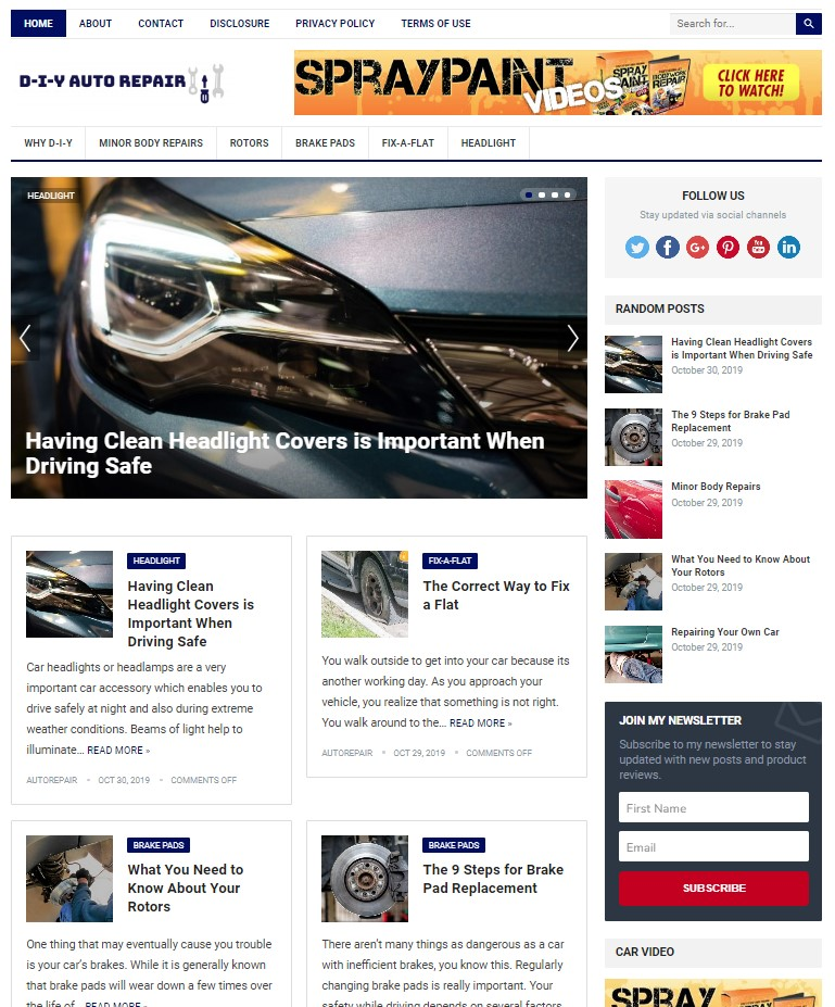 auto repair wp theme
