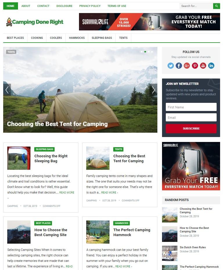 camping wp theme