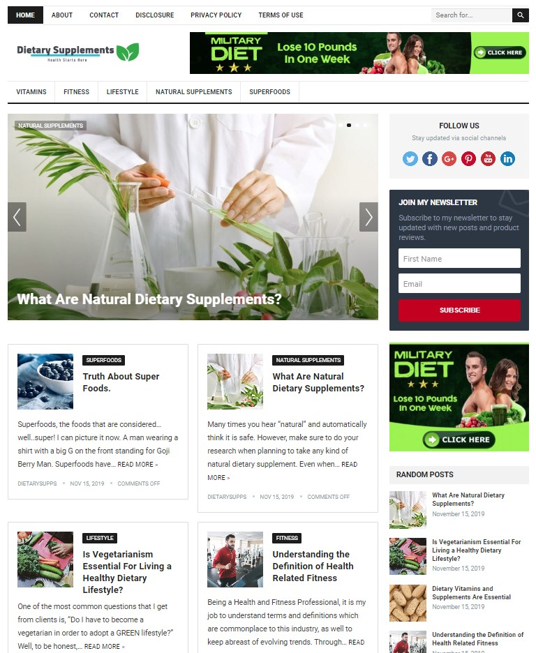 dietary supplements wp theme