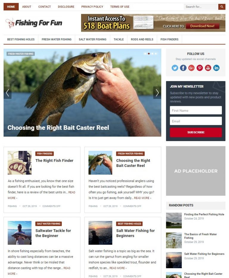fishing wp theme