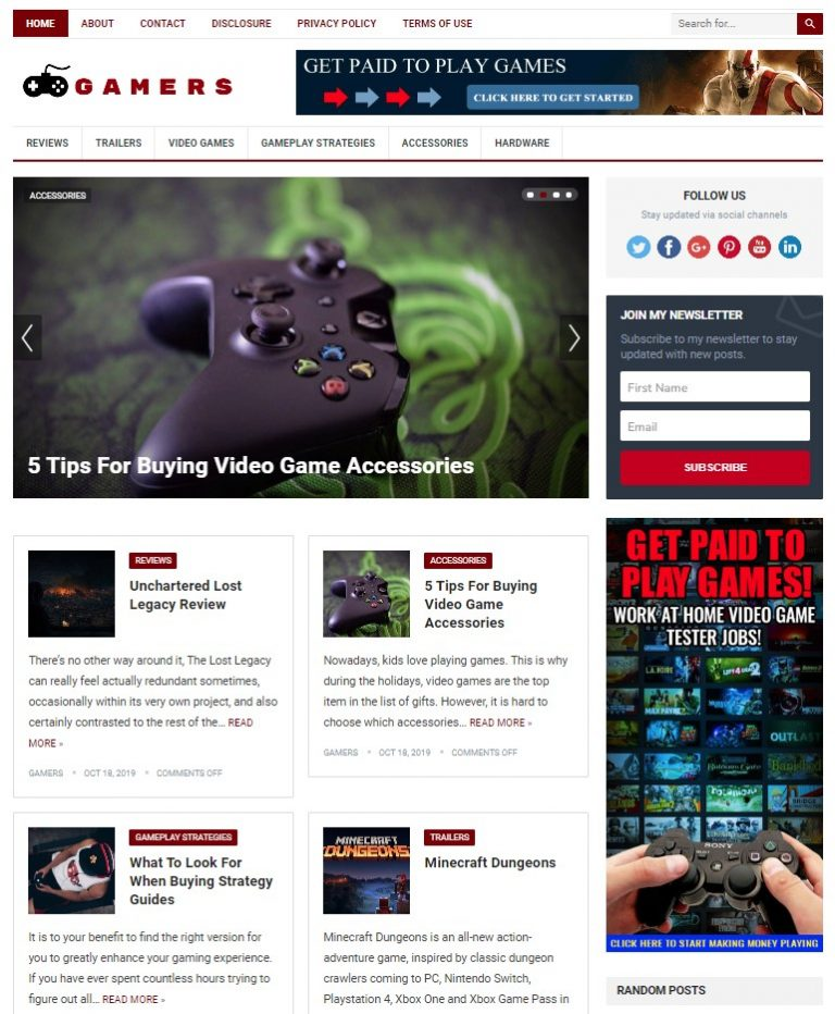 gaming wp theme