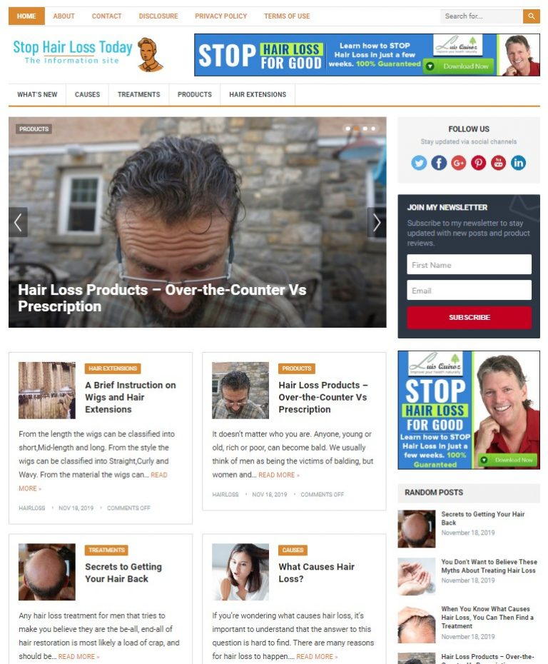 hair loss wp theme