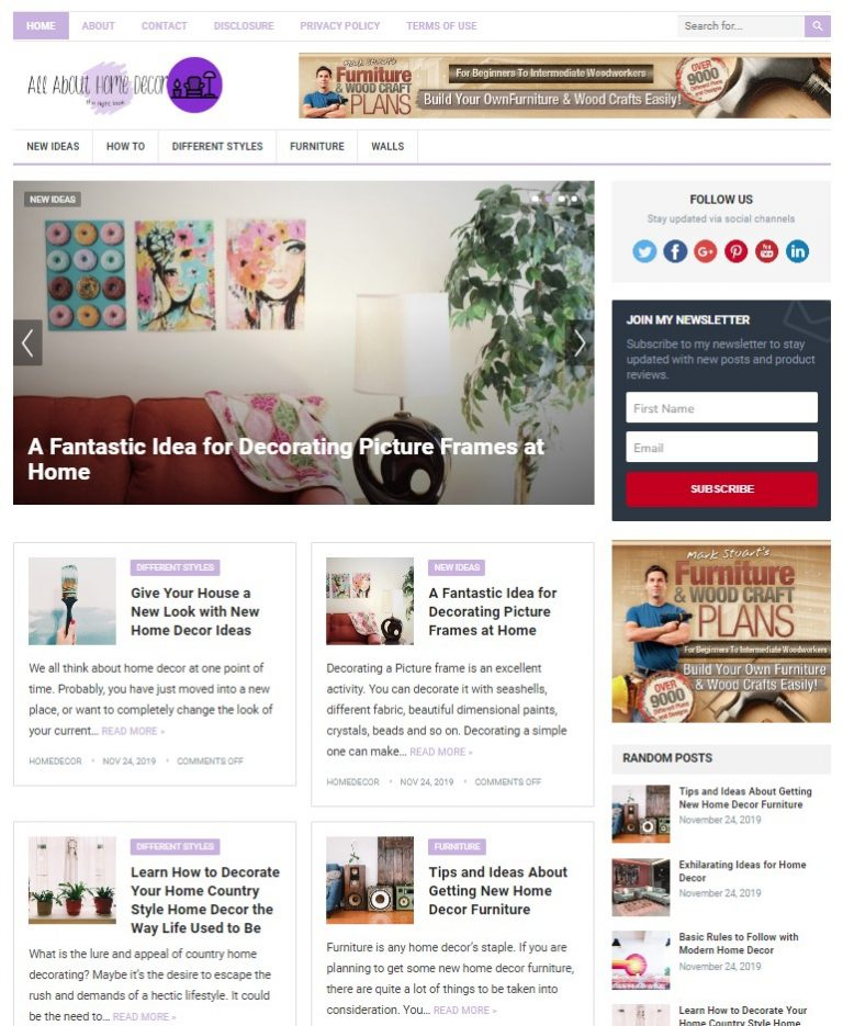 home decor wp theme