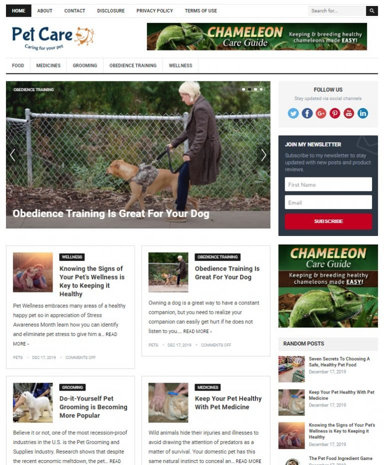 pet care wp theme