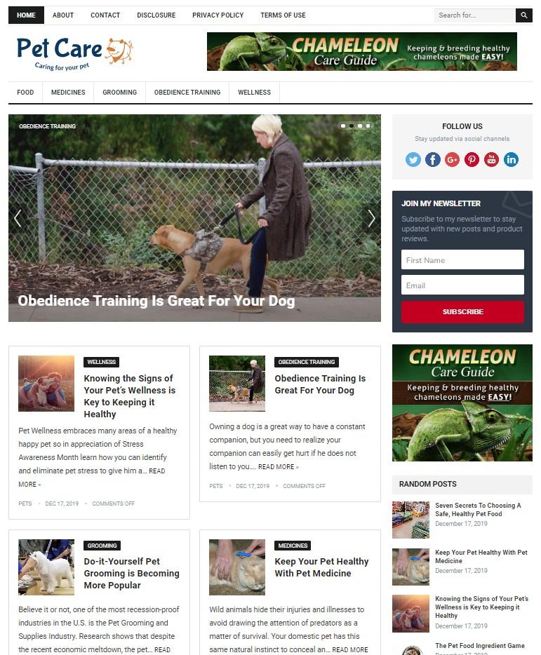 pet care wp theme