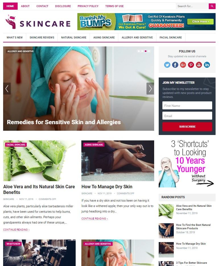 skincare wp theme